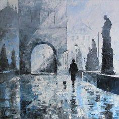 Prague Charles Bridge morning walk by Yuriy Shevchuk, 2007.