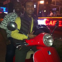 With Clarence and my Vespa