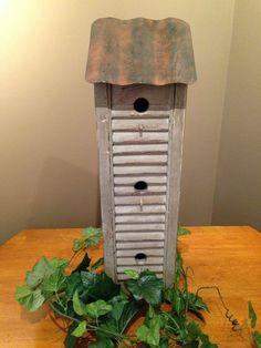 Birdhouse*Wooden*Green*Gray*Tin Roof* #NaivePrimitive