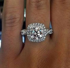 20 Double Halo Engagement Ring Ideas for You Lately double row halo design engagement rings are also becoming more popular, they are unique and beautiful. If you have a small diamond/budget, considering a Ring Set, Ring Verlobung, Square Halo Engagement Rings, Halo Rings, Solitaire Rings, Solitaire Engagement, Ruby Rings, Emerald Rings, Solitaire Diamond