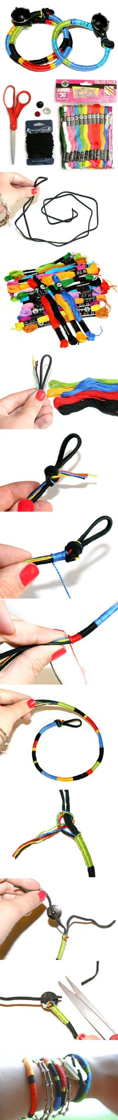 Tutorial, leather cord with color embroidery thread bracelets