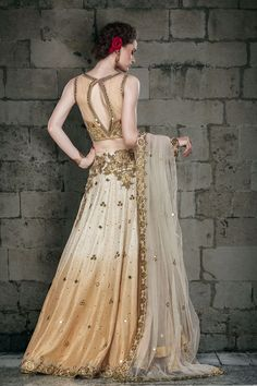 Show details for Fascinating off white & beige color A line lehenga choli