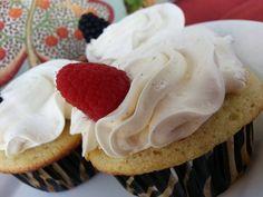 Vanilla Bean Cupcake - Vanilla cake with cream center topped with real vanilla bean buttercream. Vanilla Bean Cupcakes, Gourmet Cupcakes, Vanilla Cake, Pork, Cream, Sweet, Desserts, Recipes, Kale Stir Fry
