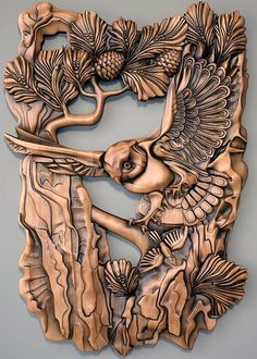 Wood Carving Designs, Wood Carving Patterns, Wood Carving Art, Rustic Crafts, Wood Crafts, Alice In Wonderland Original, Intarsia Wood, Chip Carving, Wood Bird