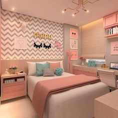 best teen girl bedroom decor ideas 31 – Home Decor Master Bedroom Layout, Room Design Bedroom, Girl Bedroom Designs, Home Room Design, Master Suite, Bedroom Colors, House Design, Cute Bedroom Ideas, Room Ideas Bedroom