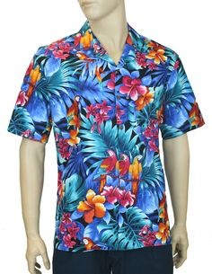 8d94221a Check out the deal on Brazilian Forest Tropical Parrots Aloha Shirt at Shaka  Time Hawaii Clothing