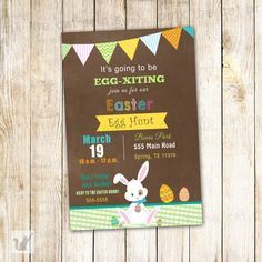 Lovely printable invitation for Easter egg hunt. You will need to let us know the wording you require and you will receive at your email a digital image file. All revisions are free of charge as we want to make sure you are happy with the card. Print as many as you need at home, photo lab or office supplies store. Size is 4x6''. Printing services and matching items available.