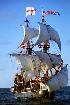 Sir Francis Drake's ship, The Golden Hind: world encompassed by the above