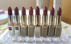 Loreal colour riche lipstick in spiced wine, plum twist, cashmere, sapphire rose, tawny, nude, organza Lipstick For Dark Skin, Nude Lipstick, Red Lipsticks, Beauty Tips, Beauty Hacks, Spiced Wine, Eyeliner, Eyeshadow, Lo Real
