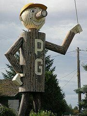My birth town mascot Mr PG for the city up in northern BC Canada #Prince George