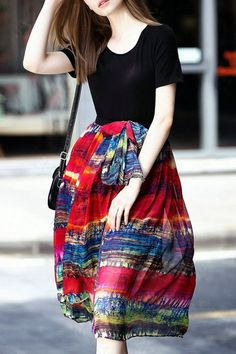 Colorful Red Black and Blue Geometric Print Spliced Short Sleeve Flare Dress #Colorful #red #Black #Blue #Geometric #Abstract #Fall #Street #Style #Fashion #Ideas
