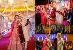 #WeddingSutraP2W A stunning red-and-gold Sabyasachi lehenga for Shivani of WeddingSutra.
