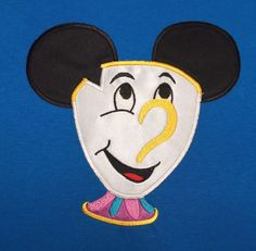 Mouse Head CHIP Inspired by Beauty and the Beast Embroidery and Applique T-Shirt…