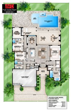 Coastal , Florida , Mediterranean House Plan 75965 with 4 Beds, 4 Baths, 3 Car Garage Level One Best House Plans, Dream House Plans, House Floor Plans, House Plans With Pool, Florida Living, Florida Home, South Florida, The Plan, How To Plan