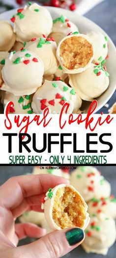 Sugar Cookie Truffles are the perfect no-bake holiday treat. With only this easy dessert is perfect for parties, food gifts & more! Sugar Cookie Truffles are the perfect no-bake holiday treat. With only this easy dessert i Christmas Truffles, Easy Christmas Treats, Holiday Treats, Christmas Parties, Christmas Time, Holiday Baking Ideas Christmas, Chrismas Food Ideas, Food Gifts For Christmas, Christmas Dessert Recipes