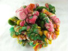 "Handspun Yarn - Super Coil Art Yarn Singles - 6yds, 3.2oz, 1 to 2 wpi - ""Passion Fruit"". $30.00, via Etsy."
