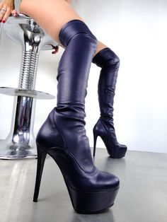 CQ COUTURE CUSTOM OVERKNEE BOOT STIEFEL STIVALI REAL STRETCH HEELS BLACK NERO 43