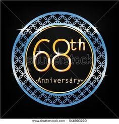 black background and blue circle 68th anniversary for business and various event