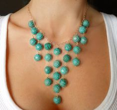 Turquoise Bib Necklace  Turquoise Statement by GlassPalaceArts, $69.00