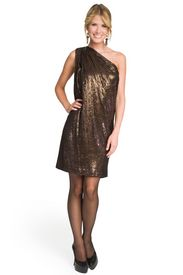 One Shoulder Sequin Sack Dress