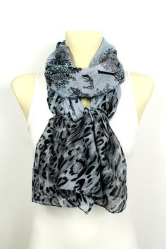 Woodland Scarf - Animal Print Scarf - Gray Leopard Scarf - Boho Fabric Scarf - Unique Printed Scarf -Women Fashion Scarf - Gift Idea for her