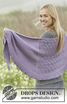 "Lavender Leaves - Knitted DROPS shawl with lace pattern and edge in rib in ""Merino Extra Fine"". - Free pattern by DROPS Design Drops Patterns, Shawl Patterns, Knitting Patterns Free, Free Pattern, Crochet Patterns, Knitted Shawls, Crochet Shawl, Knit Crochet, Crochet Hooks"