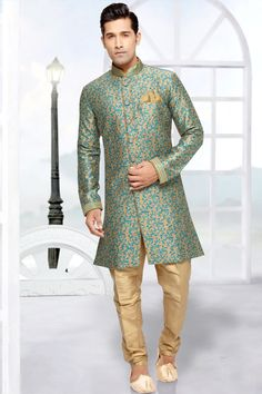 Buy readymade beige indo western wedding sherwani for men online Mens Sherwani, Wedding Sherwani, Jumper, Indian Man, Indian Groom, Indian Ethnic, Mens Fashion Suits, Men's Fashion, Men Online