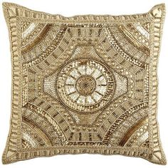 Calico Gold Beaded Medallion Pillow | Pier 1 | Get up to 8.6% Cashback when you shop with your DubLi Membership! Not a member? Sign up FOR FREE today! www.downrightdealz.net