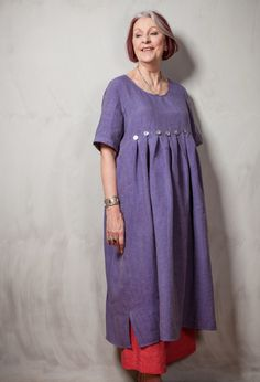 Terry Macey Summer Button Dress in linen  over Attius Trousers in linen.