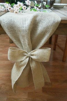 Burlap+Table+Runner+Plain+with+Burlap+Bow+by+FairStreetCrafts,+$11.00