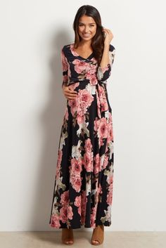 Maxi dresses are not only stylish, but comfortable and this floral draped maternity dress will guarantee a comfortable and cool look this warm season. From every stage of pregnancy into motherhood, the deep v-neckline allows for easy nursing as well as a flattering cinched under bust style to show off your growing bump.