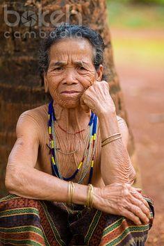Portrait of an elderly Kreung hill tribe minority woman | Ratanakiri Province, Cambodia