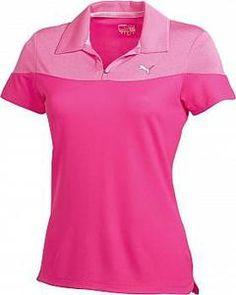 Puma Cerise Colorblock V-Neck Short Sleeve Polo - Mrs Golf - Ladies Golf Apparel, Shoes, Accessories - #mrsgolf