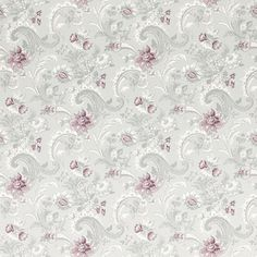 Baroque Pale Grape Floral Wallpaper. Hints of colour (pink) can really add depth into a wallpaper. Creating a starting point of decor colours