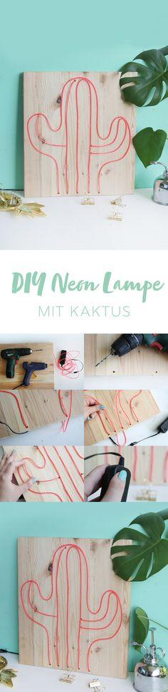 DIY Neonschild mit Kaktus-Motiv selbermachen: Kaktus-Lampe mit Neon-Schlauch   Kreative DIY Idee mit DIY Tutorial   DIY Blog   DIY Anleitung