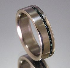 Titanium Wedding Band Turquoise Offset Inlay by HolzRingShop, $100.00