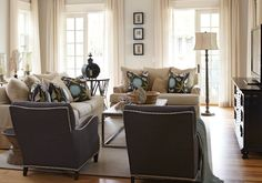 Interior Philosophy: Coastal cottage feel to living room with French doors, ivory walls color and breezy ...