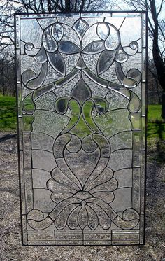 Frosted Hearts Beveled Glass Window Panel | Stained Glass and More