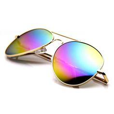066ea8b5c8c Classic Metal Tear Drop Rainbow Mirrored Lens Aviator Sunglasses