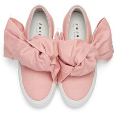 Joshua Sanders Pink Denim Bow Double Slip-On Sneakers (17,945 DOP) ❤ liked on Polyvore featuring shoes, sneakers, round cap, pink sneakers, slip on trainers, pink shoes and rubber sole shoes