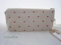 Natural Linen zipped pouch - pencil case - choose from flowers, hearts, strawberries! by OrchardFruit on Etsy