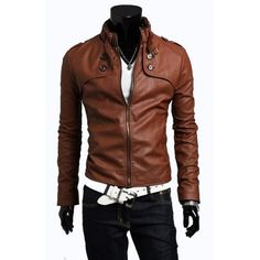 Brown Buttoned Style Slimfit Leather Jacket