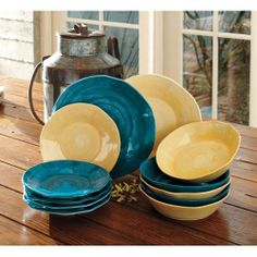 Mattina Toscana Dinnerware- also in olive and rust. Dinner Plate Sets, Dinner Sets, Dining Plates, Kitchen Dining, Dining Services, Little Corner, Dish Sets, Best Dishes, Kitchen Colors