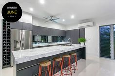 Entrant - Tropical Trend Homes - June. Product used - Laminex 180FX Carrera Marble Gloss. ***June Project of the Year monthly winner***.