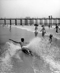 Belly sliding at Hermosa Beach, California, 1948 Beach Look, Beach Bum, The Last Summer, Retro Pictures, Hermosa Beach, Vintage Photography, Band Photography, People Photography, Santa Monica
