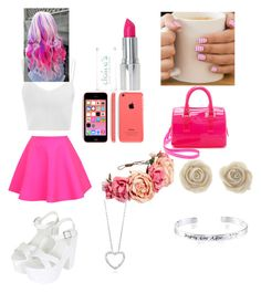 """Pink and white makes a nice make"" by oliviafreemanxx123 ❤ liked on Polyvore"