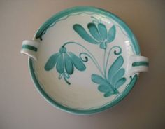 Vintage Helmi Souva for Kupittaan Savi of Finland by Modernaire Aqua, Turquoise, Vintage Pottery, Clay Art, Ceramic Pottery, Finland, Bowls, 1950s, Tiles