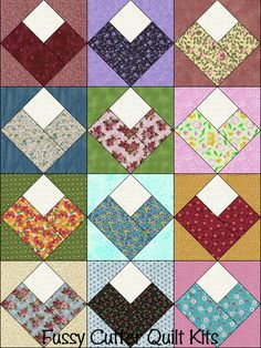 Scrappy Fabric Log Cabin Hearts Easy Pre-Cut Quilt Blocks Top Kit