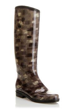 geometric rain boots