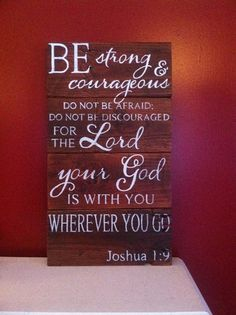 Joshua 1:9 reclaimed wood hand painted sign by HoneycombSigns